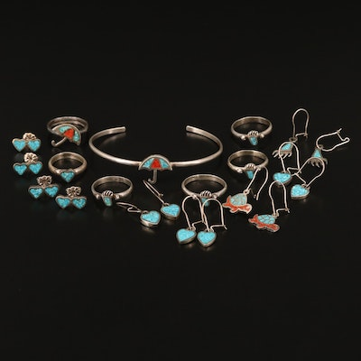 Southwestern Sterling Coral and Turquoise Inlay Jewelry Selection