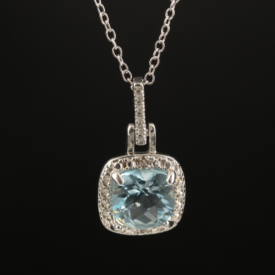 Sterling Topaz and Diamond Halo Pendant Necklace