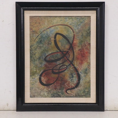 Curvilinear Abstract Oil Painting, Mid-20th Century