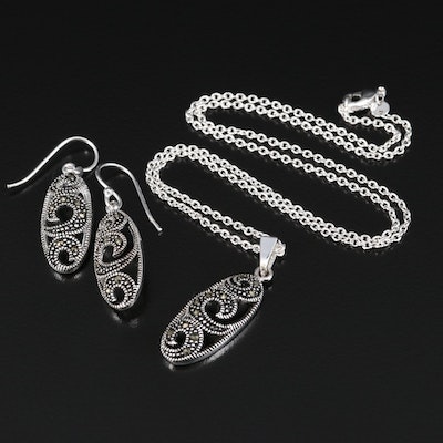 Marcasite Scroll Pendant Necklace and Drop Earrings