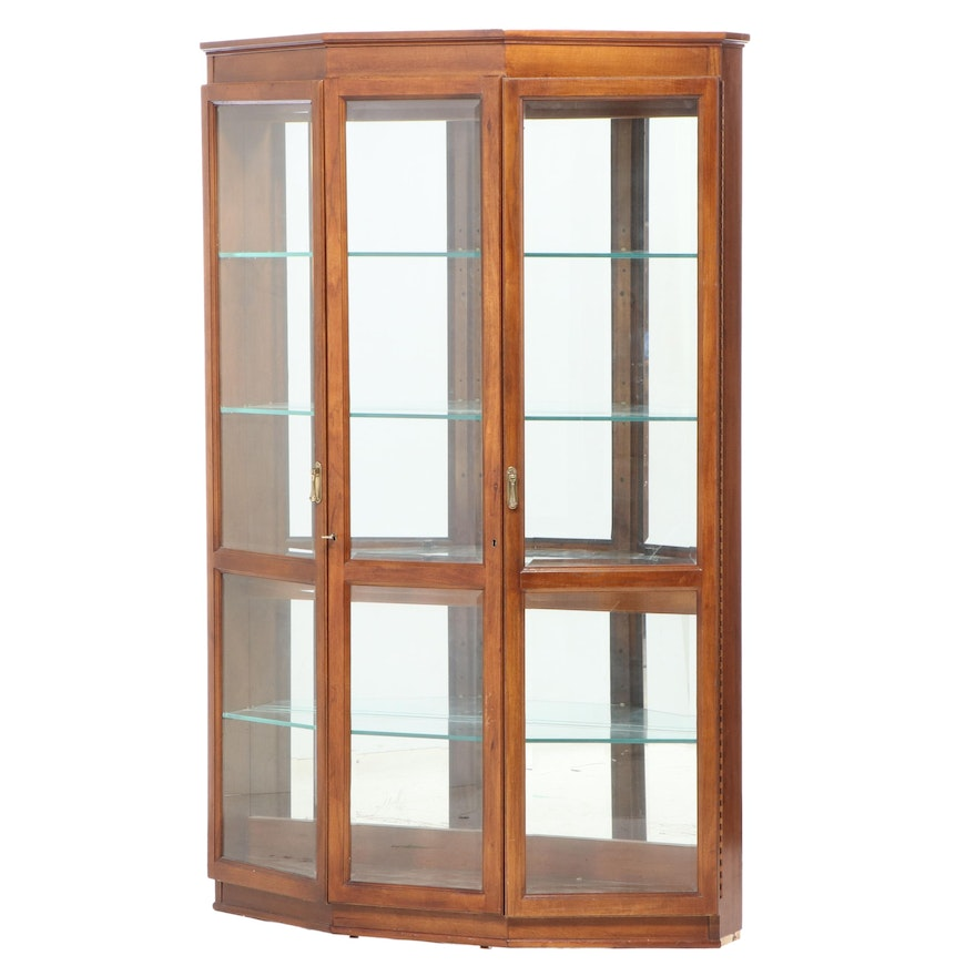 Mahogany-Stained Illuminated Display Cabinet with Glass Shelves