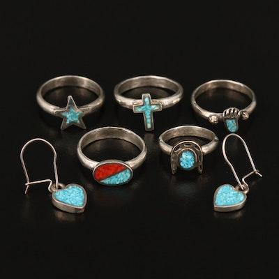 Southwestern Turquoise and Coral Inlay Jewelry