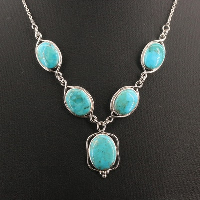 Sterling Silver Turquoise Stationary Pendant Necklace