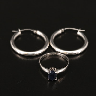 14K Sapphire Solitaire Ring and Hoop Earrings