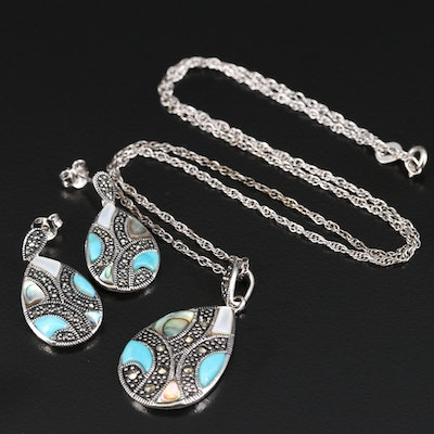 Sterling Turquoise, Mother of Pearl, Abalone and Marcasite Necklace and Earrings
