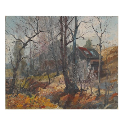 Oil Painting of Cabin in the Woods, Late 20th Century