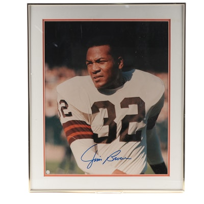 "Jim Brown Signed Cleveland Browns 16"" by 20"" Framed Football Print, MM COA"