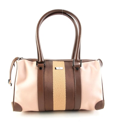 Gucci Pink Canvas Web Top Handle Bag with Brown Leather Trim