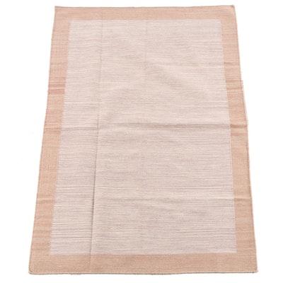 4'2 x 6'2 Handwoven Indian Dhurrie Wool Rug