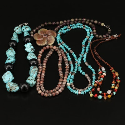 Beaded Necklaces Featuring Turquoise, Magnesite and Jasper