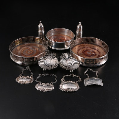 Sterling Silver Coaster, Labels, Shakers and Ashtrays with Other Bar Accessories