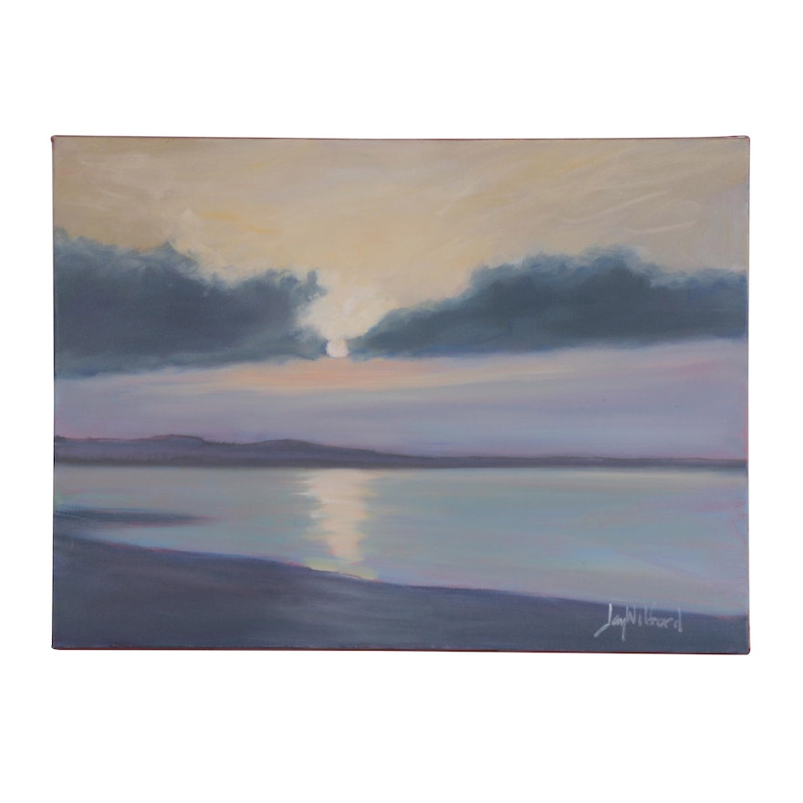 """Jay Wilford Seascape Oil Painting """"Burning off Fog,"""" 21st Century"""