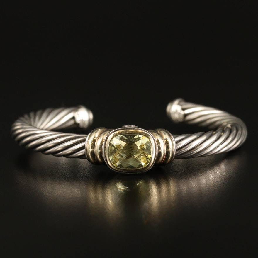 David Yurman Sterling Citrine Cuff with 14K Accent