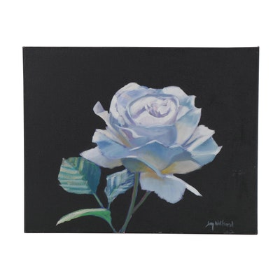 "Jay Wilford Oil Painting ""White Rose,"" 21st Century"