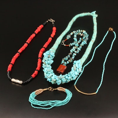 Beaded Necklaces and Bracelet Featuring Turquoise, Howlite and Jasper