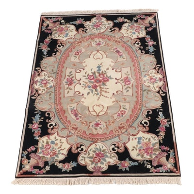 6'0 x 9'7 Hand-Knotted Chinese Savonnerie Style Wool Rug