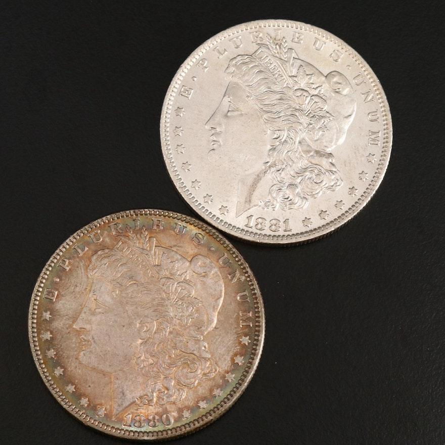 1880 and 1881-O Morgan Silver Dollars