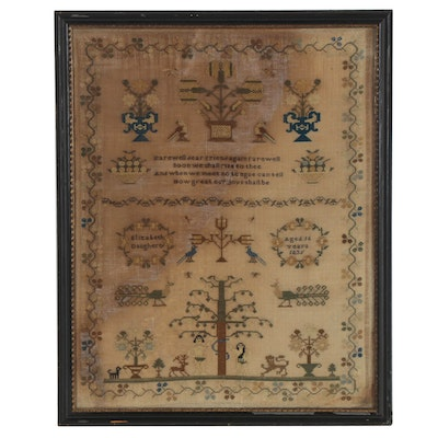 Elizabeth Daugherty Adam and Eve Needlework Sampler, 1835