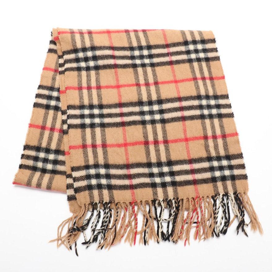 "Burberrys of London ""Nova Check"" Cashmere Fringed Scarf"