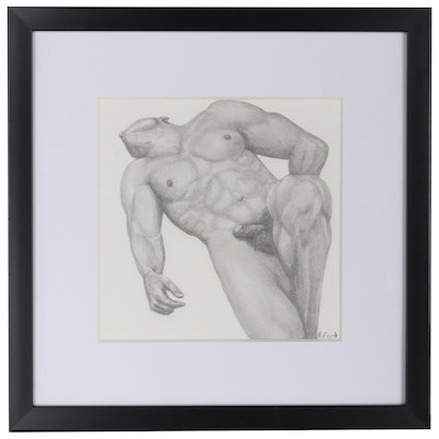 Kevin Ford Graphite Drawing of Reclining Nude, 21st Century