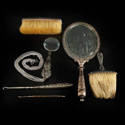 Bailey, Banks & Biddle Sterling Hand Mirror, and Other Sterling Vanity Items