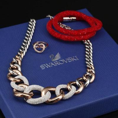 "Swarovski Crystal ""Bound"" Necklace, ""Cupidon"" Ring and ""Stardust"" Bracelet"