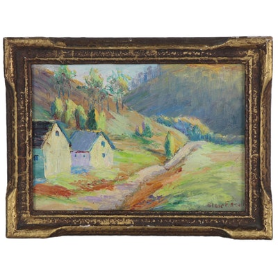 Elsie Scull Oil Painting of Landscape with Cottages, Early to Mid-20th Century