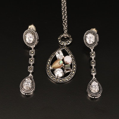 Sterling Silver Shell and Gemstone Necklace and Dangle Earrings