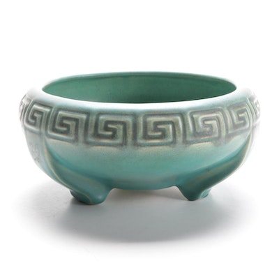 Rookwood Pottery Meander Motif Glazed Ceramic Footed Planter, 1915
