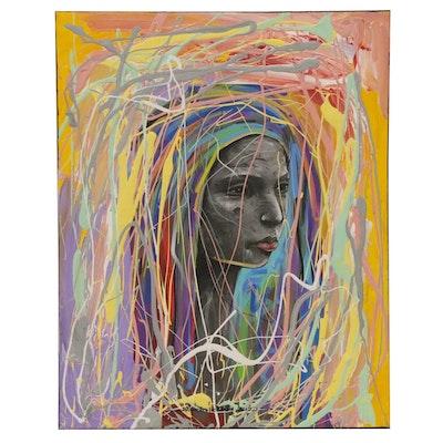 """Abiola Idowu Mixed Media Painting """"Imole (Remix),"""" 2020"""