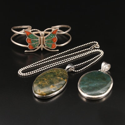 Jewelry Featuring Moss Agate, Coral and Turquoise Inlay and Jasper