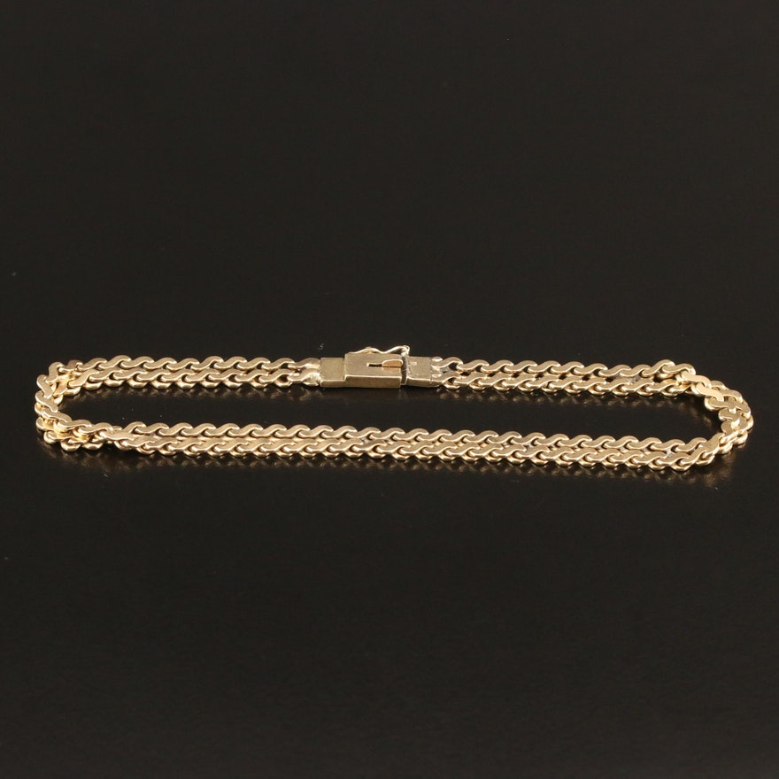 14K Double Serpentine Chain Bracelet