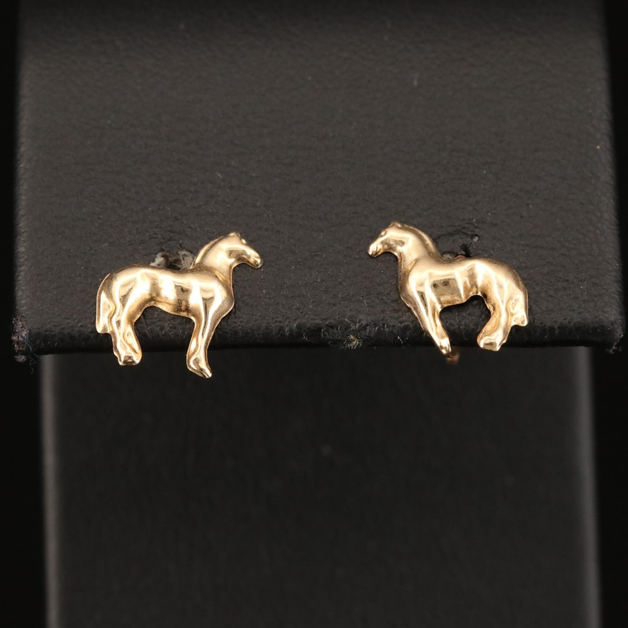 14K Horse Stud Earrings