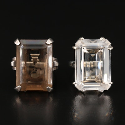 Sterling Silver Rock Crystal Quartz and Smoky Quartz Rings