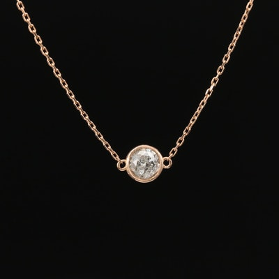 14K 0.43 CT Bezel Set Diamond Solitaire Necklace