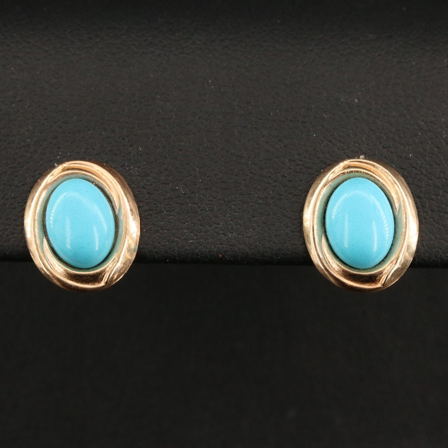 14K Imitation Turquoise Button Earrings