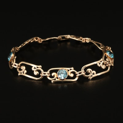 14K Zircon Rectangular Scroll Link Bracelet