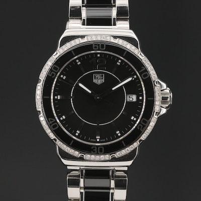 "TAG Heuer ""Formula 1"" Stainless Steel and Ceramic Diamond Bezel Wristwatch"