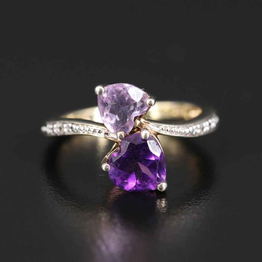 Sterling Silver Amethyst and Topaz Bypass Ring