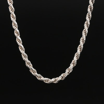 Sterling Silver Rope Chain Neckalce