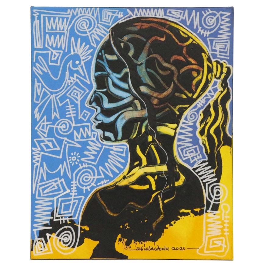"Abiola Idowu Mixed Media Painting ""Highlights of Glory,"" 2020"
