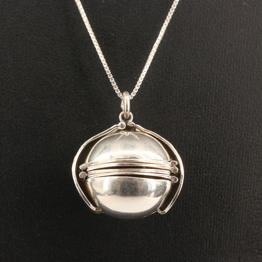 Sterling Silver Photo Locket Sphere Necklace