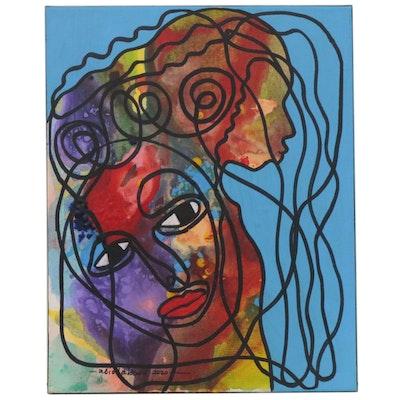 "Abiola Idowu Mixed Media Painting ""Good Energy,"" 2020"