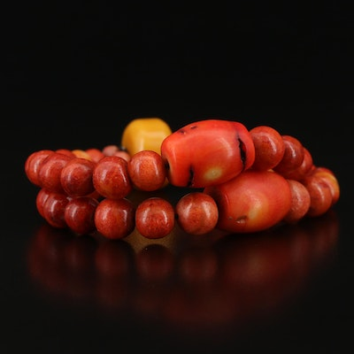 Coral and Amber Double Strand Expandable Bracelet