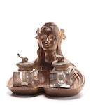 Art Nouveau Gilt Bronze Feminine Figure Double Inkwell, Early 20th Century