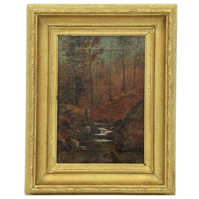 Julia Massie Woodland Landscape Oil Painting, Early 20th Century