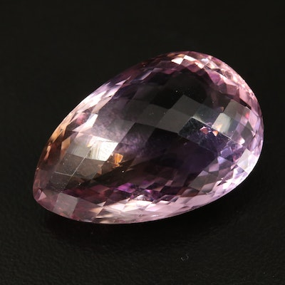 Loose 38.97 CT Checkerboard Pear Faceted Ametrine