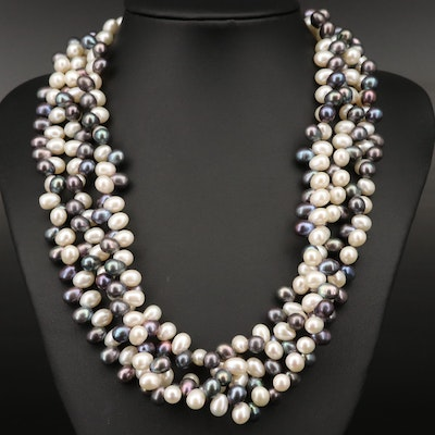 Pearl Torsade Necklace with Sterling Silver