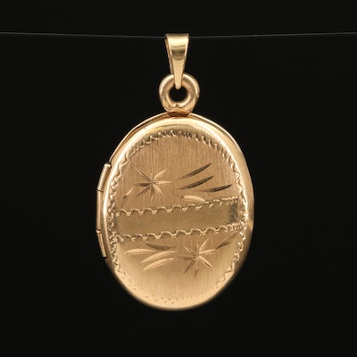 14K Engraved Oval Locket Pendant