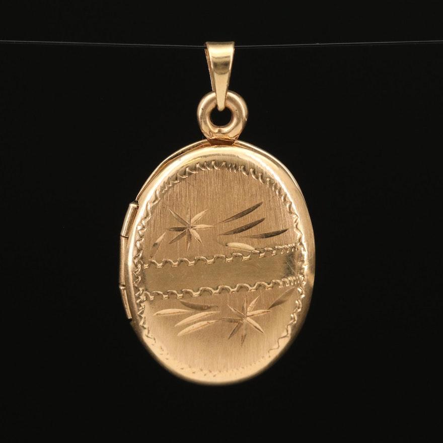 14K Engraved Oval Locket Pendant